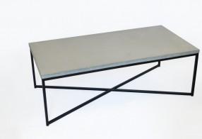 Table basse rectangulaire béton, acier