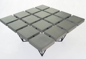 Table basse carrée beton multi plateaux